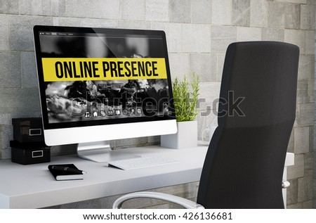 3d rendering of industrial workspace showing online presence on computer screen. All screen graphics are made up.