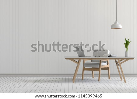 3D rendering of interior modern living room bright workspace with desk and laptop computer and green plants  #1145399465