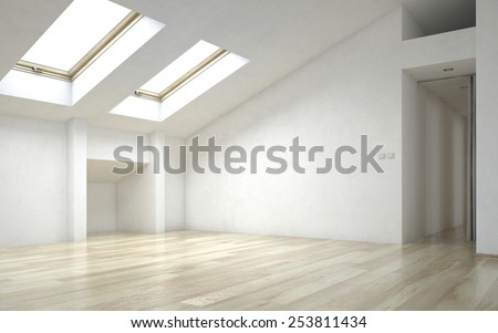 3D Rendering of Interior of Empty Room of New Home with Wood Floors, White Walls and Bright Skylights