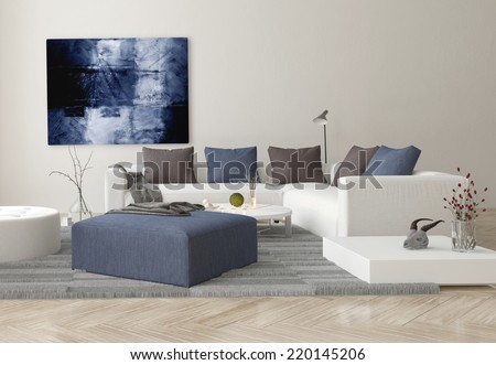 3D Rendering of Interior of Modern Living Room with Sofa, Ottoman, and Artwork on Wall