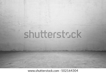 3d rendering of interior with concrete wall and floor. Textured background. Copyspace. Rough-surfaced.