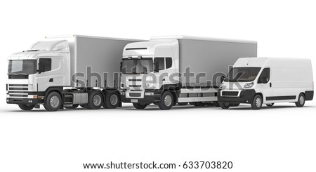 3D rendering of Isolated Commercial Land Vehicles in Different Types