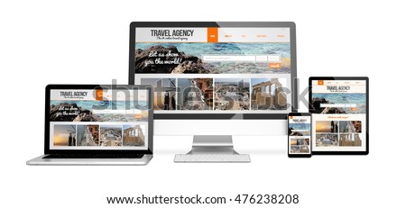 3d rendering of isolated devices with travel agency responsive website design. All screen graphics are made up.