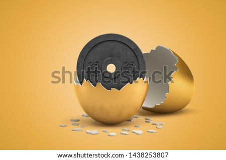 3d rendering of 25 kg weight plate hatching out of golden egg on yellow background. Games and sports. Outdoor activities. Sporting goods.