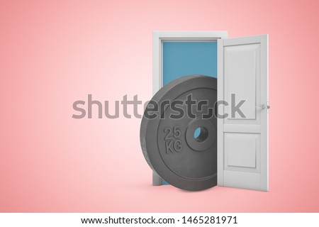 3d rendering of 25 kg weight plate in white doorway on light pink background. Games and sports. Outdoor activities. Sporting goods.