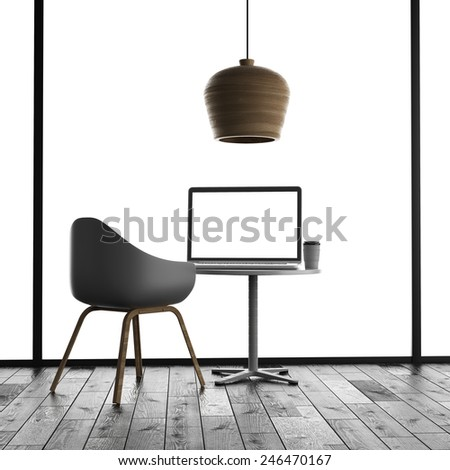 3d rendering of laptop on table