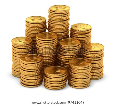 3d rendering of large group of gold chinese yuan coins on white background