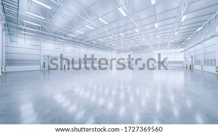 3d rendering of large hangar building and concrete floor and shutter door in perspective view for aircraft product display or industrial background, Polished concrete floor clean condition and space.