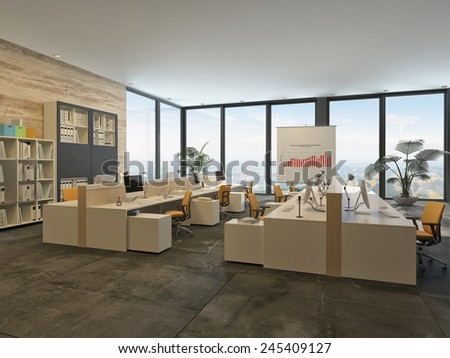 3D Rendering of Large open-plan commercial office with rows of workstations and computers in a bright airy room with a glass wall letting in lots of daylight