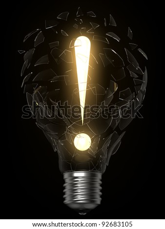 3D rendering of lightbulb and exclamation point breaking the glass