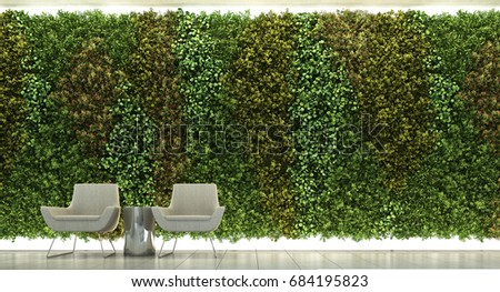 3d rendering of living area with vertical garden