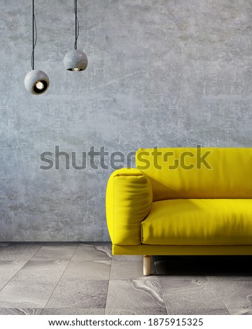 3D rendering of living room. Colors of 2021 year. Ultimate Gray and Illuminating.