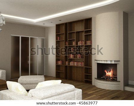 3d Rendering Of Living Room Interior Design Stock Photo