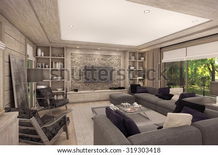 3D rendering of living room, kitchen and dining room are combined in one area of a country house. The interior is decorated with wood and natural materials.