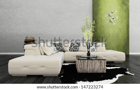 3D rendering of loft apartment interior with white couch against lime green wall #147223274