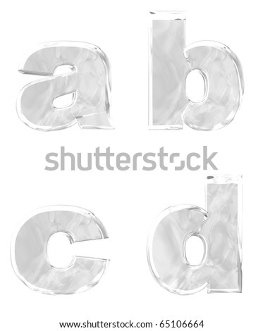 3D rendering of lower case ice alphabets a b c d