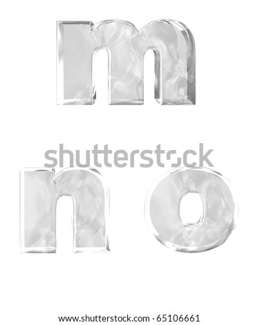 3D rendering of lower case ice alphabets m n o