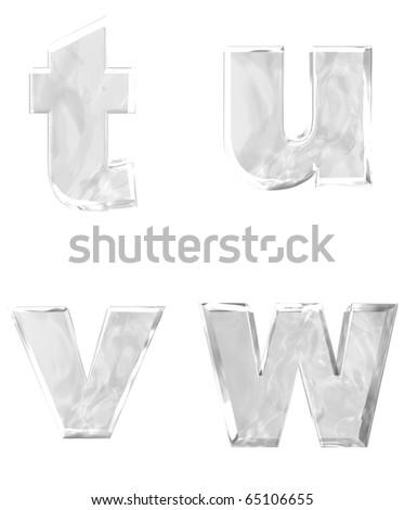 3D rendering of lower case ice alphabets t u v w