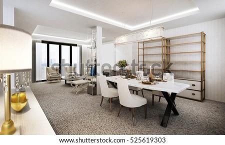 3D rendering of luxury dining room #525619303