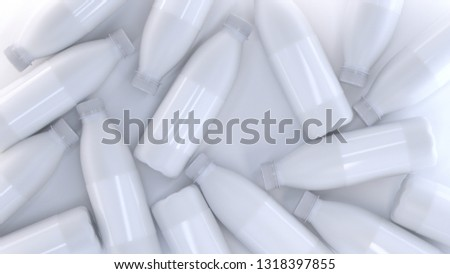 3d rendering of many plastic bottles for milk, yogurt or kefir. Realistic products packaging mockup with soft shadows. Random lie on bright white background #1318397855