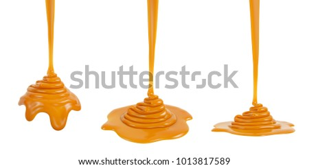 3D rendering of melted caramel or syrup pouring and folding on sphere form and ground plane, isolated on white