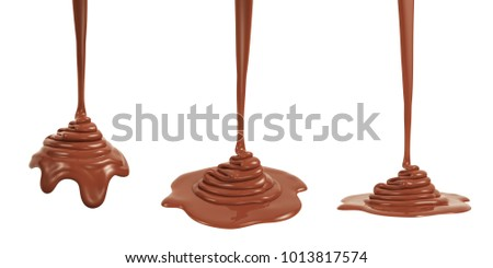 3D rendering of melted milk chocolate pouring and folding on sphere form and ground plane, isolated on white