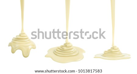 3D rendering of melted white chocolate or cream or white sauce pouring and folding on sphere form and ground plane, isolated on white