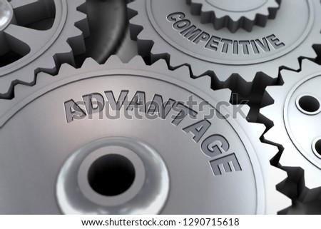 3d rendering of metal cogwheel gears concept of Competitive Advantage