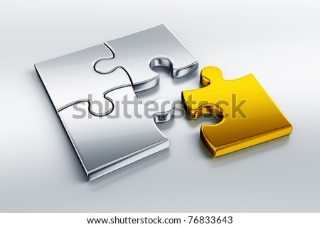 3d rendering of metal puzzle pieces on a reflective floor with one piece in gold