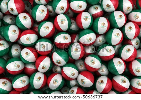 3d rendering of Mexican soccer balls. Perfect for background