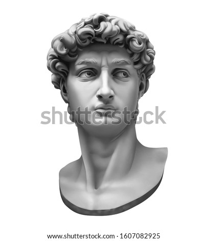 3D rendering of Michelangelo's David bust isolated on white. High quality detailed monochrome illustration. Stock photo ©