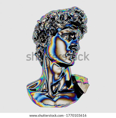 3D rendering of Michelangelo's David head. Classical bust sculpture in chromium holographic colors isolated on white background.