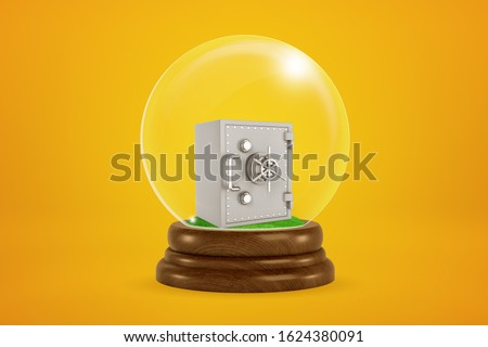 3d rendering of miniature closed metal money safe inside snowglobe on amber background. Business and finance. Security systems. Making money.