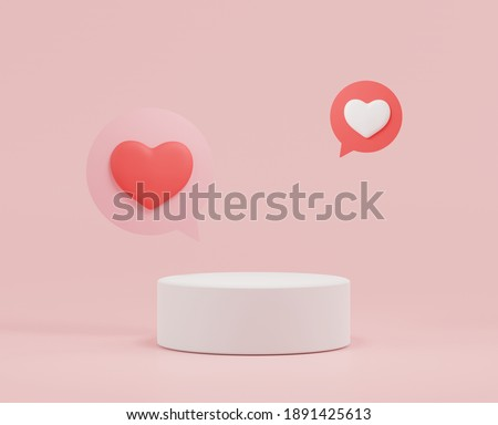 3d rendering of minimal scene of blank podium with Valentine's Day theme. Display stand for product presentation mock up. Cylinder stage in sweet lovely pink color with simple design. Sweet background