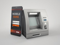 3d Rendering of Mobile online banking and payment concept. clipping path included