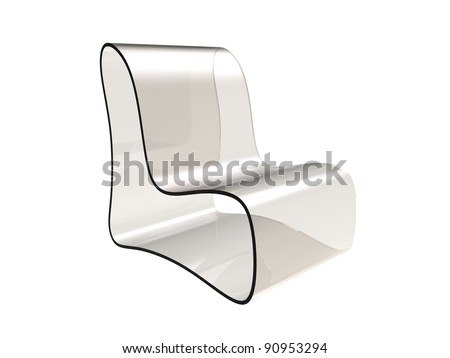 3d rendering of  modern chair made of transparent plastic isolated on a white background