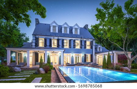 3d rendering of modern cozy classic house in colonial style with garage and pool for sale or rent with beautiful landscaping on background. Clear summer night with many stars on the sky. Foto stock ©
