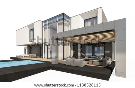 3d rendering of modern cozy house by the river with garage for sale or rent. Isolated on white. #1138528115