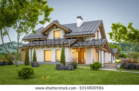 3d rendering of modern cozy house in chalet style with garage for ...