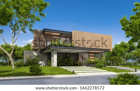 3d rendering of modern cozy house with parking and pool for sale or rent with wood plank facade and beautiful landscaping on background. Clear sunny summer day with blue sky. Stockfoto ©