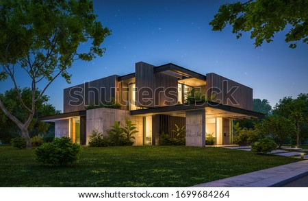 3d rendering of modern cozy house with parking and pool for sale or rent with wood plank facade and beautiful landscaping on background. Clear summer night with many stars on the sky. Stockfoto ©