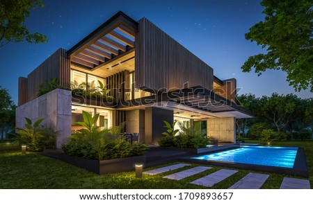 3d rendering of modern cozy house with parking and pool for sale or rent with wood plank facade and beautiful landscaping on background. Clear summer night with many stars on the sky.