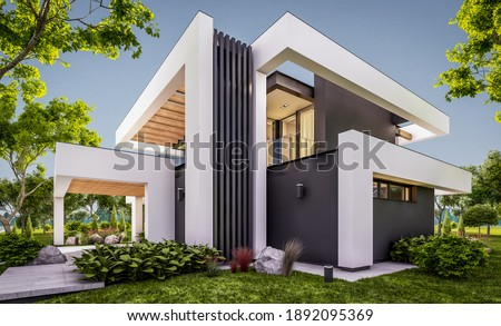 3d rendering of modern cozy house with pool and parking for sale or rent in luxurious style and beautiful landscaping on background. Clear summer evening with cozy light from window Photo stock ©