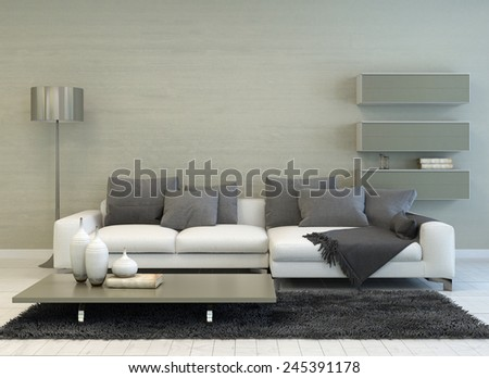 3D Rendering of Modern Grey and White Living Room with Floor Lamp, Sofa, Coffee Table, and Floating Shelves