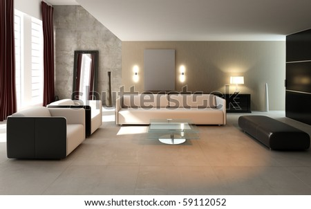 3D rendering of modern living room interior. - stock photo