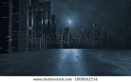 3D Rendering of modern skyscraper buildings in large city at night with reflection on wet  puddle street after raining. Concept for night life, business vision, technology product