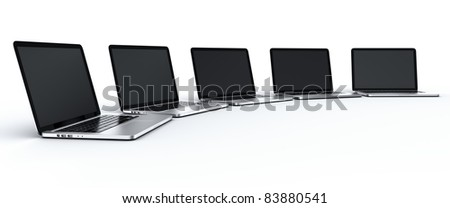 3d rendering of multiple laptops