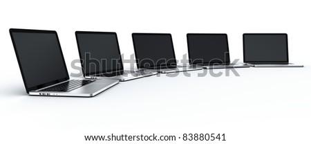 3d rendering of multiple laptops - stock photo