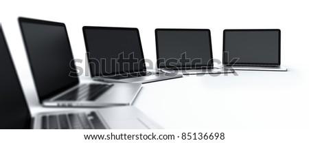 3d rendering of multiple laptops