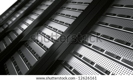 3d rendering of multiple rack servers
